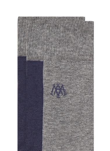 Mavi Blok Renkli  Soket Çorap Gri